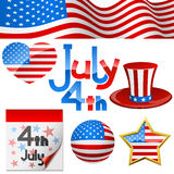 July 4th symbols. July 4th Independence Day symbols set Royalty Free Illustration