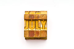 July. The Month July done in letterpress type. Part of a calendar series royalty free stock photos