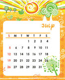 July. Decorative Frame for calendar - July Vector Illustration