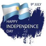 Argentina Independence Day background. 9 July. Argentina Independence Day background in national flag color theme. Celebration banner with waving flags. Vector Royalty Free Stock Photo