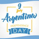 9 July, Argentina Independence Day banner in national flag color. Celebration Argentinian Independence greeting card with waving flags and text. Vector Royalty Free Stock Photography