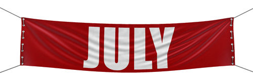 July Banner (clipping path included). Big July Banner. Image with clipping path Stock Images