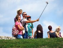 Family taking a selfie. July 20, 2018, Belgrade. Family of tourists taking a selfie on Kalemegdan fortress in Belgrade stock images