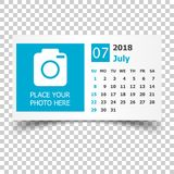 July 2018 calendar. Calendar planner design template with place. For photo. Week starts on sunday. Business vector illustration Stock Photography