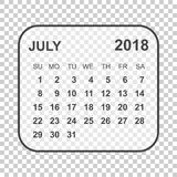 July 2018 calendar. Calendar planner design template. Week start. S on Sunday. Business vector illustration Stock Photography