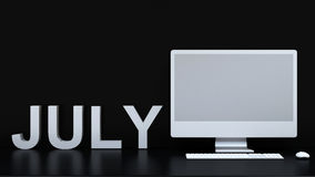 July calendar and computer background - 3D Rendering. For artwork Royalty Free Stock Photography