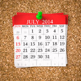 July 2014  Calendar Royalty Free Stock Images