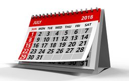 July 2018 calendar. 3d illustration of july 2018 calendar Royalty Free Stock Images