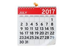 July 2017 calendar, 3D rendering Stock Images