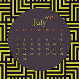 2017 July calendar design with geometric background | colorful modern business Royalty Free Stock Photography