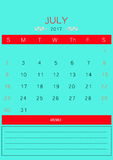 2017 July calendar design simple | colorful modern business Royalty Free Stock Images