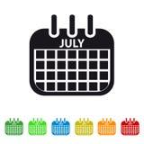July Calendar Icon -  Colorful Vector symbol. Colorful Vector Set Stock Photo