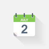 2 july calendar icon. On grey background Stock Photography