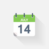 14 july calendar icon. On grey background Royalty Free Stock Photography