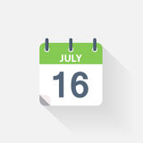 16 july calendar icon. On grey background Stock Photography
