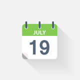 19 july calendar icon. On grey background royalty free illustration