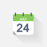 24 july calendar icon. On grey background Royalty Free Stock Photo