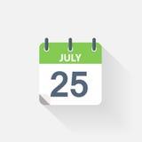 25 july calendar icon. On grey background Royalty Free Stock Photo