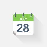28 july calendar icon. On grey background Royalty Free Stock Image