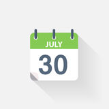 30 july calendar icon. On grey background Royalty Free Stock Images