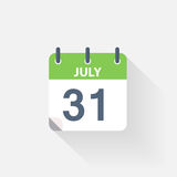 31 july calendar icon. On grey background Royalty Free Stock Photography