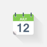 12 july calendar icon. On grey background Stock Photos