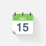 15 july calendar icon. On grey background Stock Images