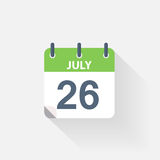 26 july calendar icon Stock Photos