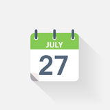 27 july calendar icon. On grey background Royalty Free Stock Photos