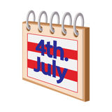 4 July Calendar,Independence Day USA cartoon icon. On white background stock illustration