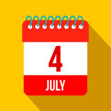 4 July Calendar, Independence Day USA flat icon. On a yellow background stock illustration