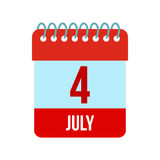 4 July Calendar, Independence Day USA icon. In flat style isolated on white background Stock Image