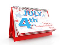 July 4 calendar, independence day, on White Background. Fourth of July, United Stated independence day. 3d render. July 4 calendar, independence day, on White Vector Illustration