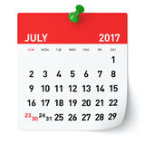 July 2017 - Calendar. Isolated on White Background. 3D Illustration Stock Photography