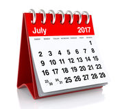 July 2017 Calendar. Isolated on White Background. 3D Illustration Stock Images