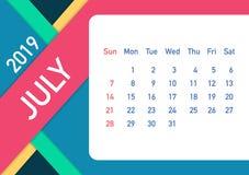 July 2019 Calendar Leaf. Calendar 2019 in flat style. A5 size. Vector illustration. July 2019 Calendar Leaf. Calendar 2019 in flat style. A5 size. Vector stock vector illustration