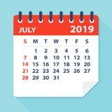 July 2019 Calendar Leaf - Vector Illustration vector illustration