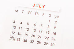 July calendar page. Stock Image