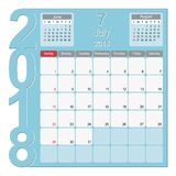 July 2018 Calendar Planner Design. 2018 Calendar Planner Design, July 2018 year vector calendar design Stock Photo