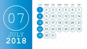 July 2018 calendar. Calendar planner design template. Week start. S on Sunday. Business vector illustration Royalty Free Stock Photo