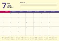 July 2018 calendar planner vector illustration Royalty Free Stock Image