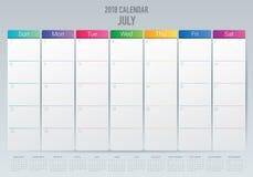 July 2018 calendar planner vector illustration Royalty Free Stock Photo