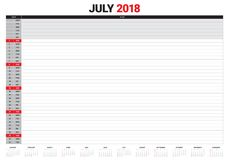 July 2018 calendar planner vector illustration Stock Images