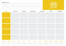 July 2018 calendar planner vector illustration Stock Photos