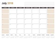 July 2018 calendar planner vector illustration Stock Photography