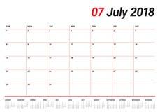 July 2018 calendar planner vector illustration Stock Photo