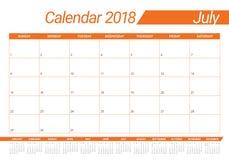 July 2018 calendar planner vector illustration Stock Image