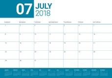 July 2018 calendar planner vector illustration Royalty Free Stock Images