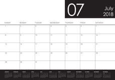 July 2018 calendar planner vector illustration Royalty Free Stock Photography