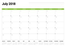 July 2018 calendar planner vector illustration Royalty Free Stock Photos